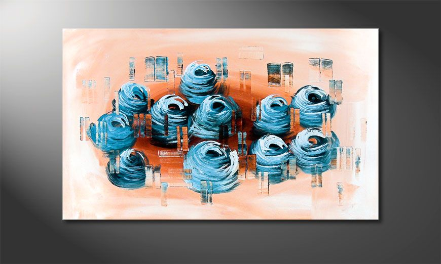 Blue Roses II 80x50x2cm Wandbild
