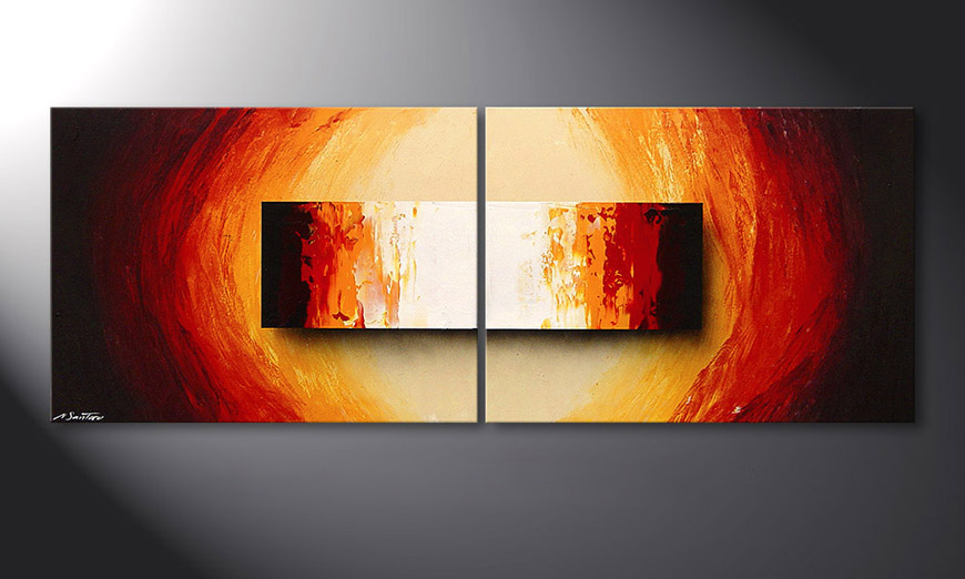Das Keilrahmenbild Liquid Fire 160x60x2cm