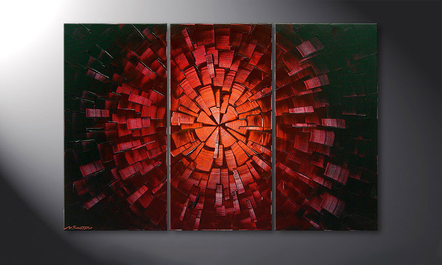 Das Wandbild Center of Glow 120x80x2cm