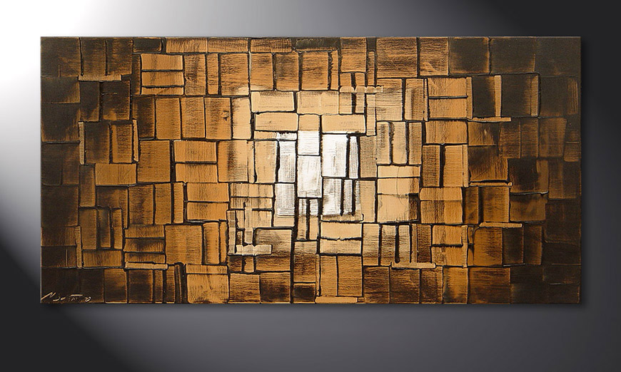 Das Wandbild Earth Cubes in 120x60x2cm