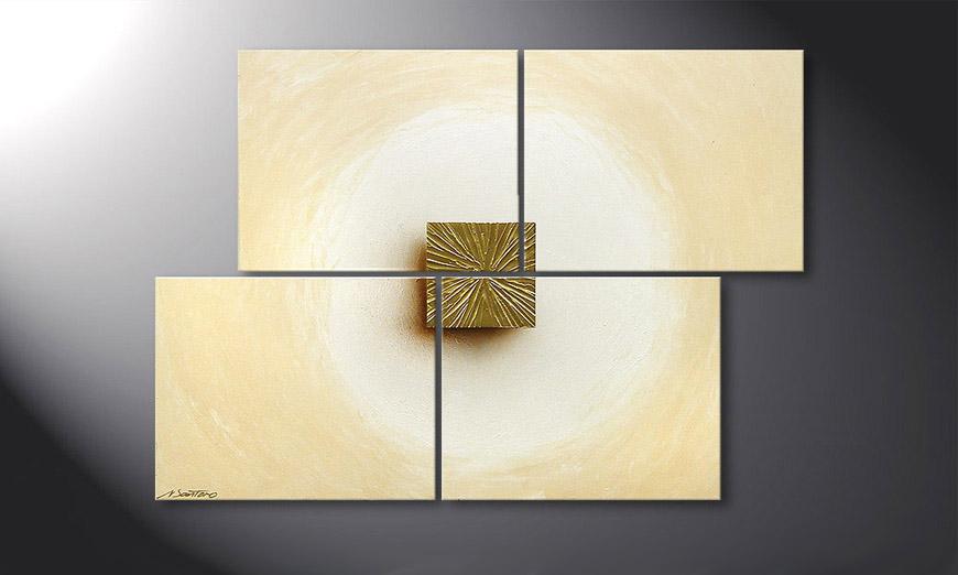 Das Wandbild Golden Cube 115x80x2cm