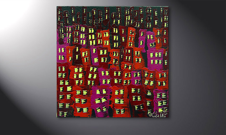 Das Wandbild Red City 50x50x2cm