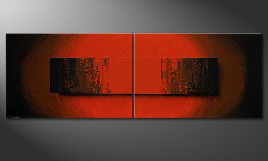 Das große moderne Bild Glowing Red 240x80x2cm
