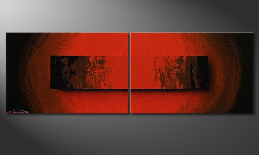 Das handgemalte Acrylbild Glowing Red 120x40x2cm