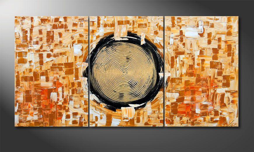 Golden Circles 120x60x2cm Wandbild