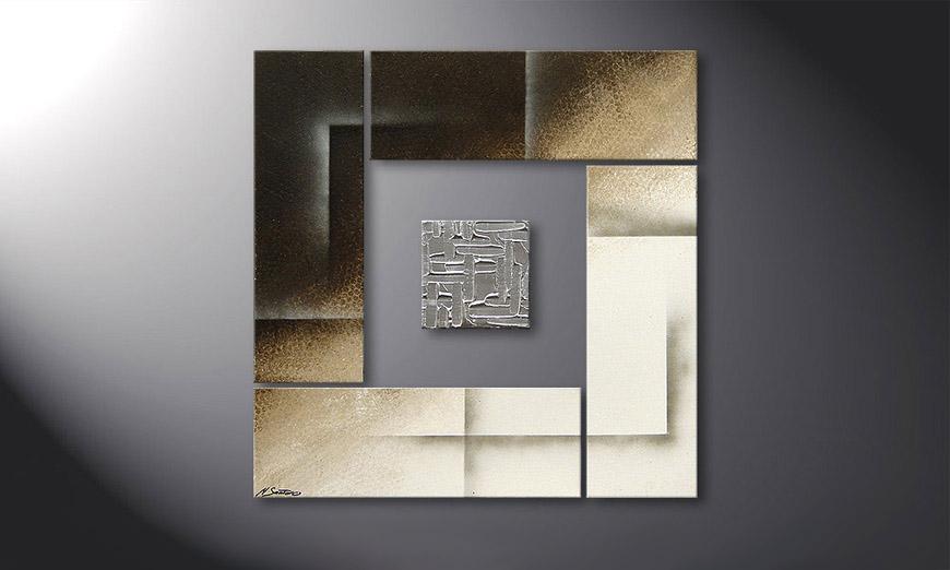 Unser Wandbild Silver Cube in 80x80x2cm