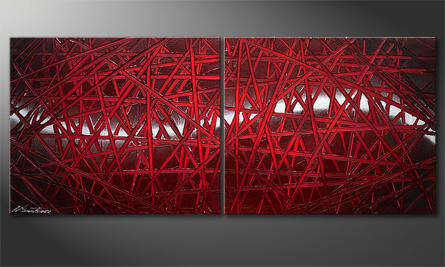 Wandbild modern Red Push 120x50x2cm