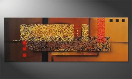 Das Wandbild 'Liquid Gold' in 150x55cm