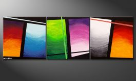 Das handgemalte Bild 'Wave of Colors' 150x50cm