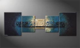 Das moderne Bild 'Deep Blue Light' 210x70cm