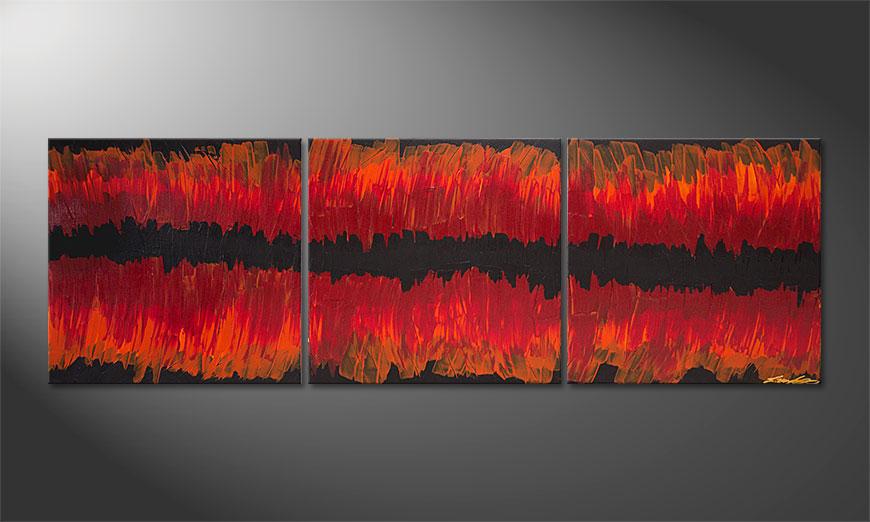 Das Wandbild Split Red 180x60x2cm