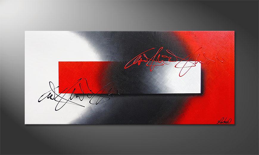 Das handgemalte Acrylbild Battle of Contrast 150x70x2cm