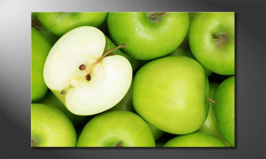 Das Leinwandbild Green Apples