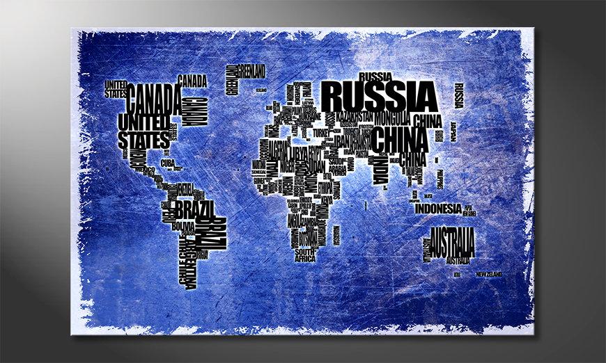 Das blaue Wandbild Weltkarte Nr2