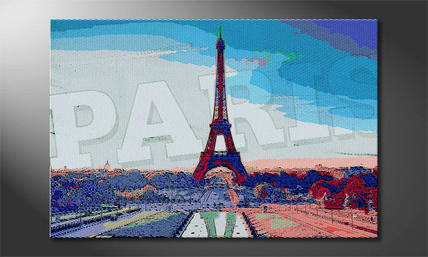 Das gedruckte Bild Paris in verschiedenen Größen