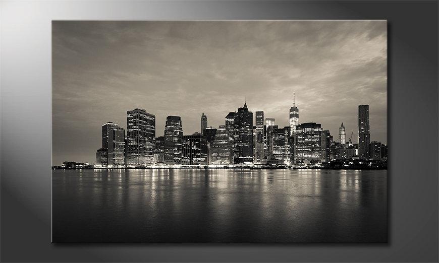 Das gedruckte Wandbild Manhatten Skyline