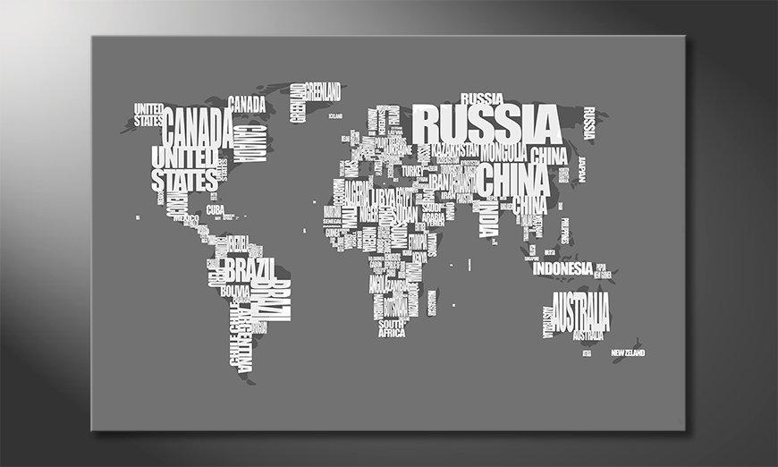 Das moderne Wandbild Weltkarte Nr11