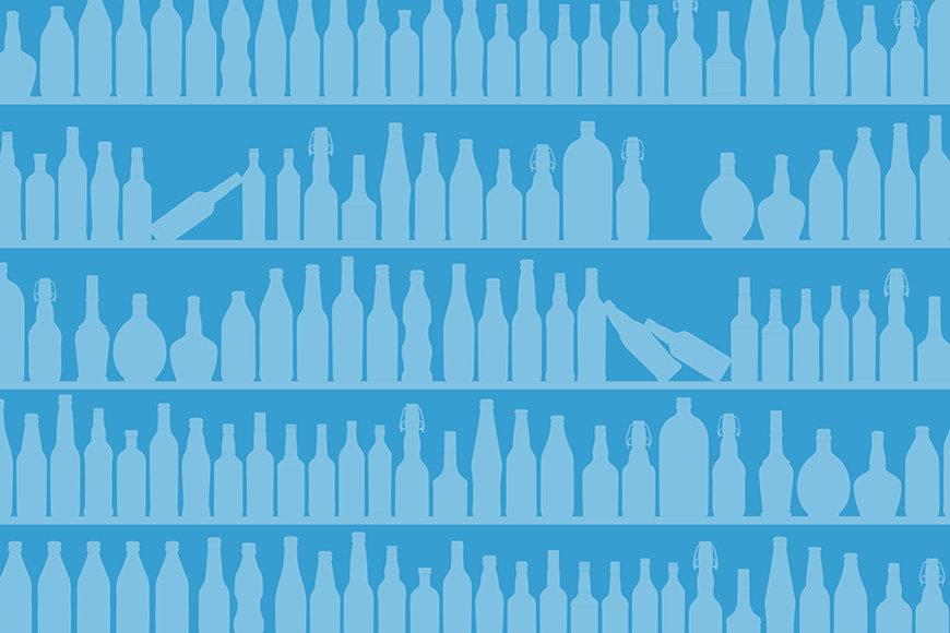 Vlies-Tapete Blue Bottles in S bis XXL