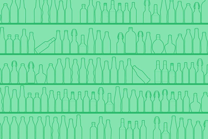 Vlies-Tapete Green Bottles in S bis XXL